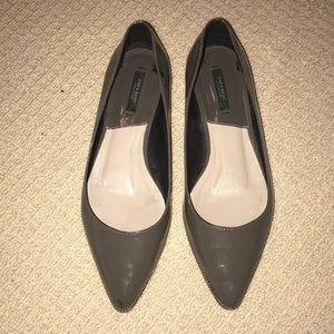 Zara Grey Patent Pointed Flats